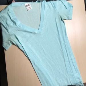 V neck light blue short sleeve